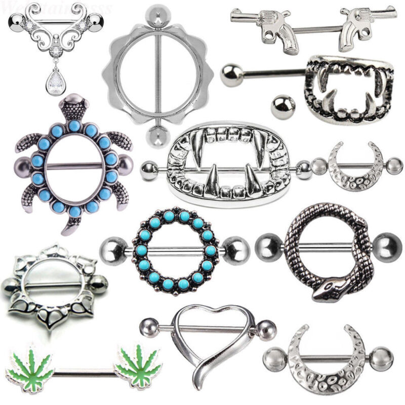 Sexy Nipple Bar Barbell Ring Surgical Steel Zircon Barbell Body