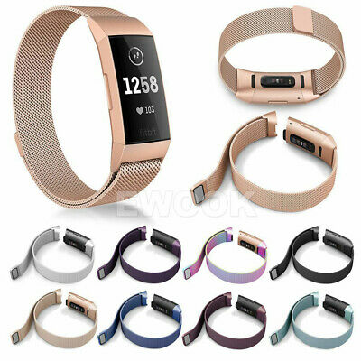 For Fitbit Charge 3 Band Metal Stainless Steel Milanese Loop Wristband Strap AU 3