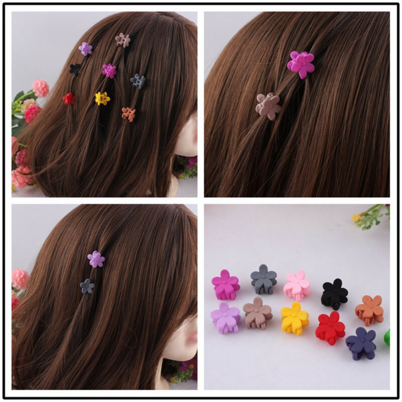 30pcs Kids Baby Girls Candy Colour Hairpins Mini Claw Hair Clips Clamp Flower 4