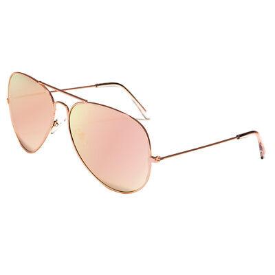 XL Oversized Rose Gold Women Sunglasses Aviator Mirrored Metal Glasses Pink New 2