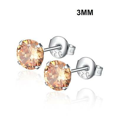 Fashion Woman Silver Plated Round Cubic Zirconia Crystal Stud Earrings Jewelry 6