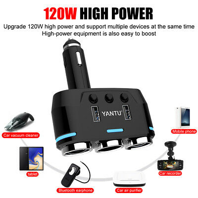 Dual USB LCD Car Charger Cigarette Lighter Double Power Adapter Socket Splitter 7