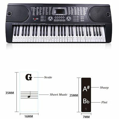 Music Keyboard Piano Stickers 88/61/54/49 Key removable white Laminted stickers 6