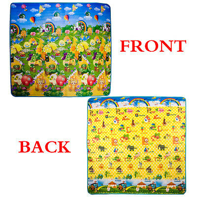 2 Side Baby Play Mat 200 x 180cm Kids Crawling Educational Game Soft Foam Carpet