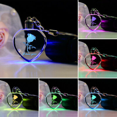 Faddish Fairy Crystal Rose LED Light Keychain Love Heart Key Chain Ring Keyring 8