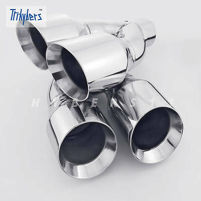 """Pair Offset Quad Dual Wall 4/"""" Out 3/"""" In Exhaust Tips Angle Cut Stainless Steel"""