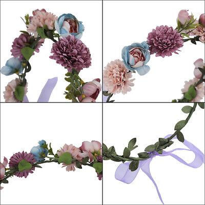 Adjustable Women's Beautiful Flower Crown Headband Hair Wreath Garland Ribbon 4