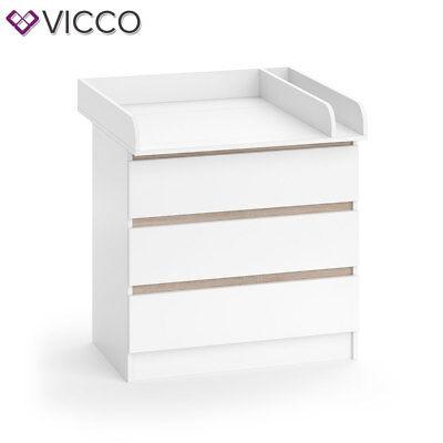 VICCO Wickelkommode Emma - Baby Wickeltisch Kommode mit 3 Schubladen Weiß Sonoma 4