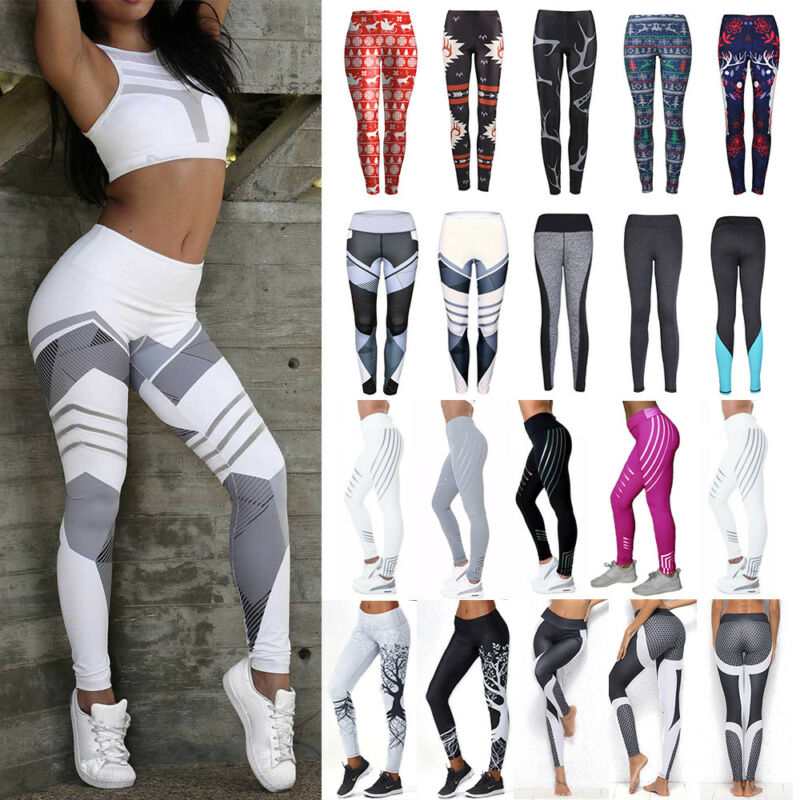 Damen Yoga Fitness Gym Leggins Jogginghose Laufhose Push Up Sporthose Yogahose