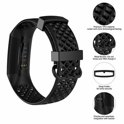 For Fitbit Charge 3 Watch Band Replacement Silicone Breathable Wrist Bracelet 3