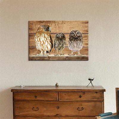 Rustic Canvas Wall Art.Rustic Canvas Wall Art Three Owls Giclee Print Modern