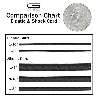 "Golberg DiamondWeave Shock/Bungee Cord - 1/4"", 1/16"", 1/8"", 1/32"", 2.5 mm"