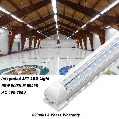2FT 4FT 8FT T8 LED Tube Light Bulbs 6000K Integrated Shop Light Fixture 2-25PCS 5