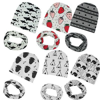 Newborn Baby Kids Boy Girl Cotton Hat Beanie Cap+Snood Scarf Neckerchief 2PCS UK