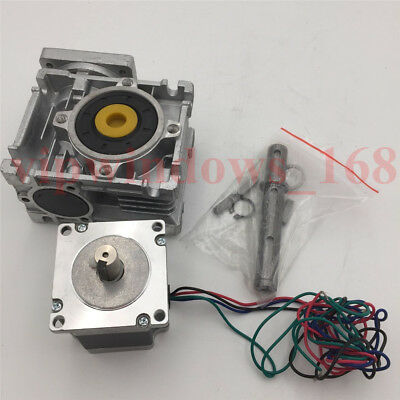 Nema23 Stepper Motor 11Nm Worm Gearbox 10:1 Speed Reducer Kit CNC Router Milling 7