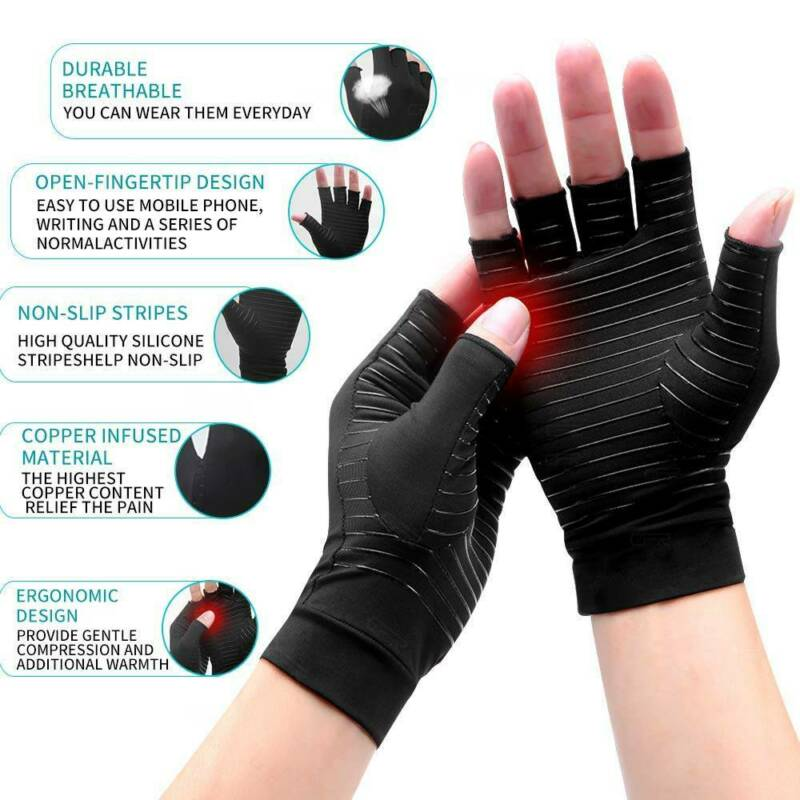 Copper Anti Arthritis Gloves Compression Hand Stiffness Carpal Tunnel Pain Brace 4