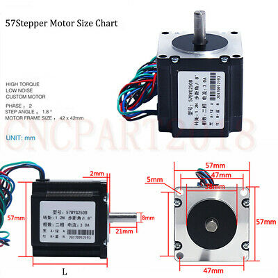 Stepper Motor Nema23 330oz-in 2.2NM 1.8° 4-wires+TB6600 Driver Kit 3A CNC Router 12