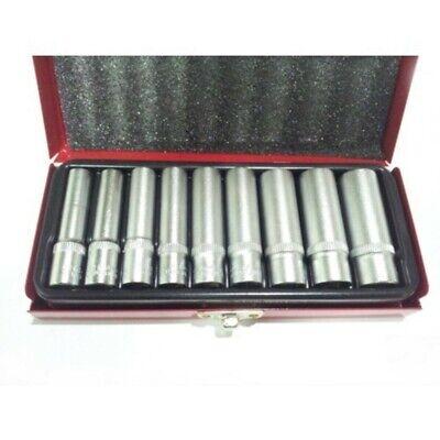 Set 9 Bussole Lunghe Attacco 1/4 Pollici Chrome Vanadium Con Cofanetto Metallo 3