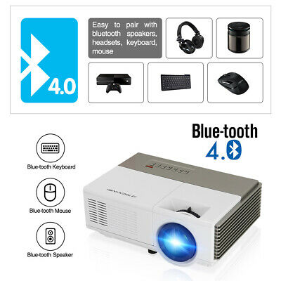 Smart HD Android Projector Wifi Bluetooth Video Home Cinema HDMI Kodi USB Movies 5