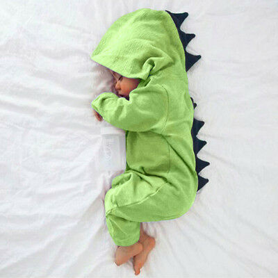 Newborn Infant Baby Boy Girl Kids Dinosaur Hooded Romper Jumpsuit Clothes Outfit 7