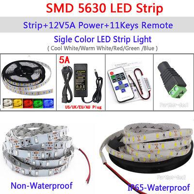 5M 300 LED Strip Light SMD 3528 5050 5630 RGB/White Flexible+Remote+Power Supply 8