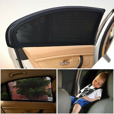 2x Car Rear Window UV Mesh Sun Shades Blind Kids Children Sunshade Blocker Black 5