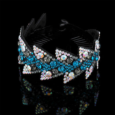 Women's Crystal Rhinestone Flower Hair Clips Claw Clamp Bun Net Hair Accessories 9
