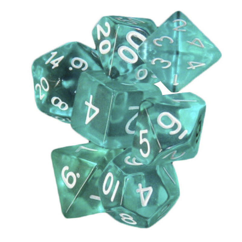 Lots 7 Piece Polyhedral Set Cloud Drop Translucent Teal RPG DnD With Dice Bag 3