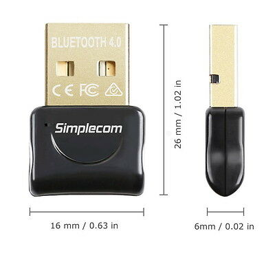 Simplecom USB Bluetooth 4.0 Widcomm Adapter Wireless Dongle with A2DP EDR 3