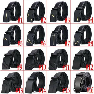 Luxury Men's Automatic Buckle Belts Ratchet Genuine Leather Belt Strap Waistband 2