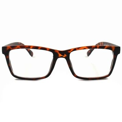 Stylish Elegant Rectangle Dapper Mens Womens Tortoise Clear Lens Eyeglasses A58