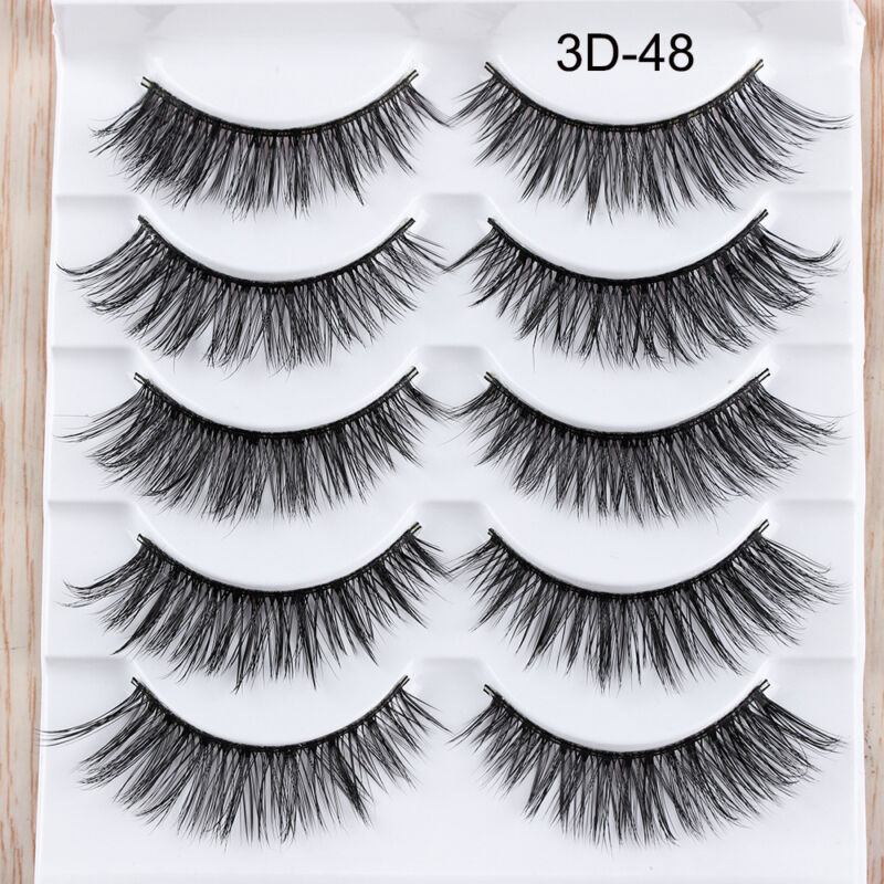 5Pairs 3D Faux Mink Hair False Eyelashes Extension Wispy Fluffy Think Lashes. 11