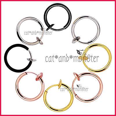 8 - 18mm Fake Piercing Hoop Ring Spring Clip On Lip Nose Septum Ear Earrings 1PC 2