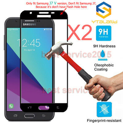 2Pcs Full Cover Tempered Glass Screen Protector For Samsung Galaxy J7 V /J7 Perx 2