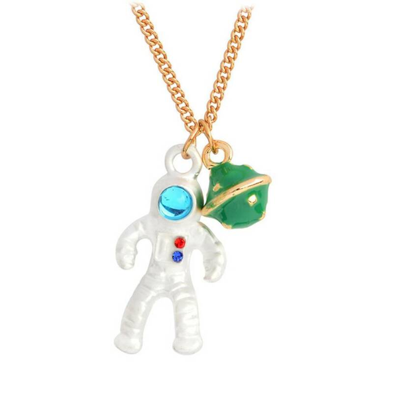 Fashion Astronaut Planet Charm Pendant Necklaces Clavicle Chain Jewelry 2