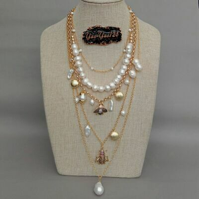 layered chain White Pearl Cz insect multi-layer charm necklace 4
