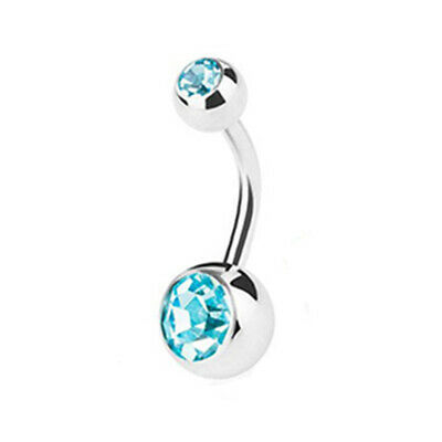 Double Gem Surgical Steel Belly Bars Navel Button Bar Body Piercing Jewellery 4