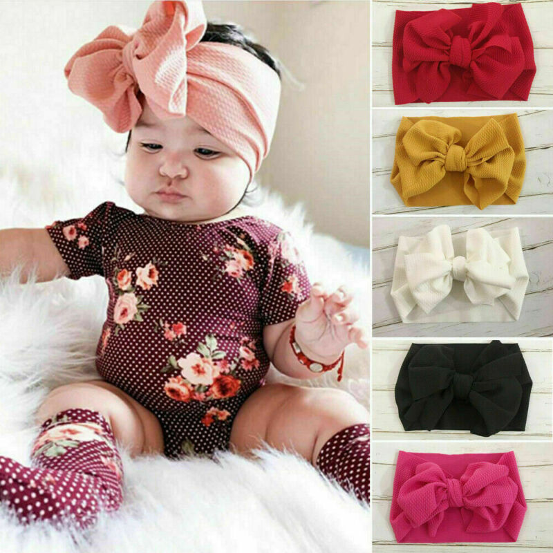 Toddler Girls Baby Big Bow Hairband Headband Stretch Turban Knot Head Wrap S8- 4