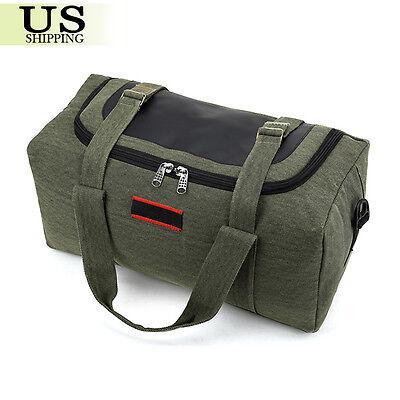 Men's Military Canvas Leather Gym Duffle Shoulder Bag Travel Luggage Handbag 3