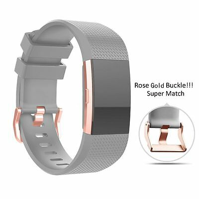 Replacement Sport Watch Band Strap Bracelet For Fitbit Charge 2 Rose Gold Buckle