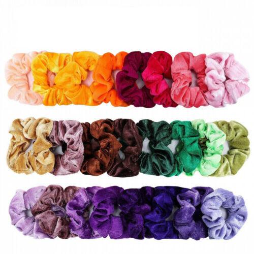 Set of 20 Lady Velvet Hair Scrunchies Elastic Scrunchy Bobble Ponytail Holder G 3