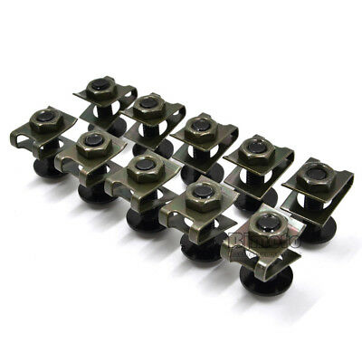10PCS 6mm M6 Fairing Bolts Speed Fastener Clip Screw Nuts Motorcycle Universal 5