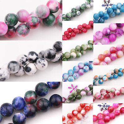 Lots Colorful Gem Round Loose Spacer Beads Stone DIY Jewellery Making Crafts 2