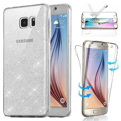 Housse Etui Coque Tpu Avant+Arriere 360° Bling Paillettes Pour Samsung Au Choix 3