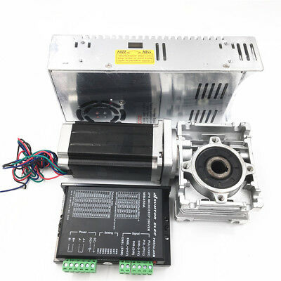 3NM Stepper Motor NEMA23 Drive Kit L112mm Worm Gear Reducer30:1&Power Supply CNC 9