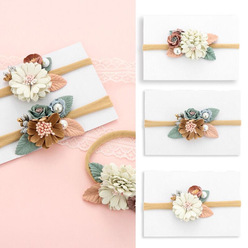 Newborn Baby Girls Chiffon Headpiece/Flower Infant Headband Hairband Headwear 2