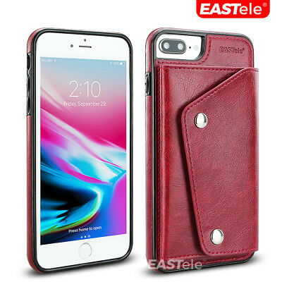 NEW iPhone XS MAX XR X 7 8 Plus Luxury Leather Wallet Card Shockproof Case Cover 2