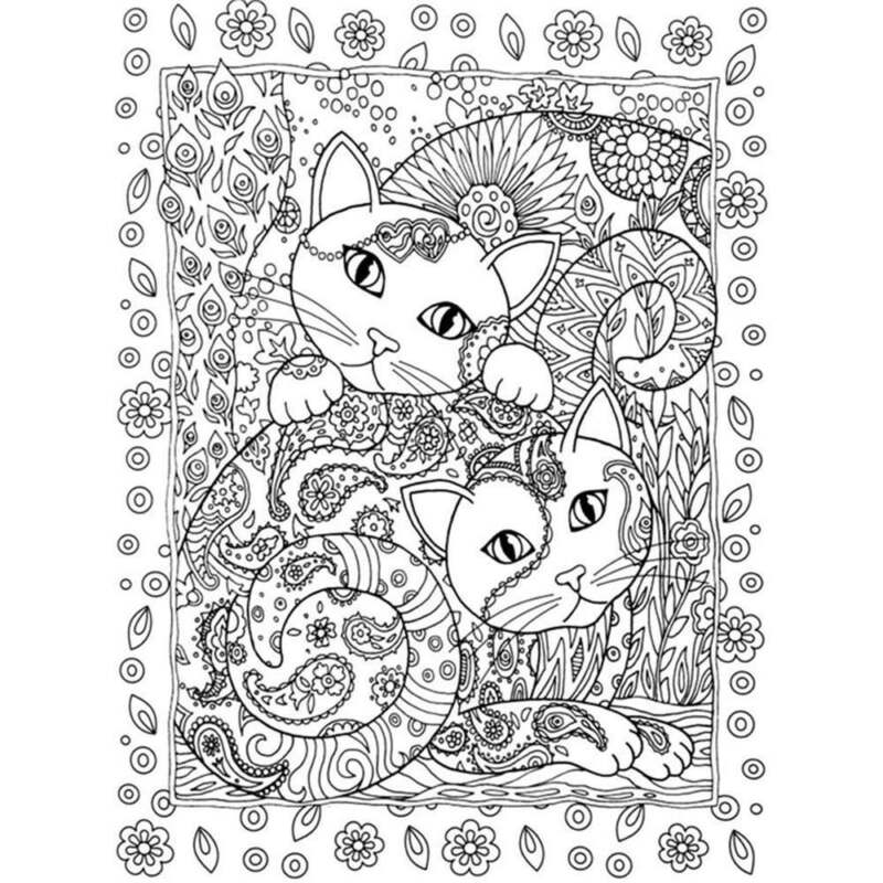Haven Creative Cats Colouring Book Adults Stress Reliever Secret Garden Gift 7