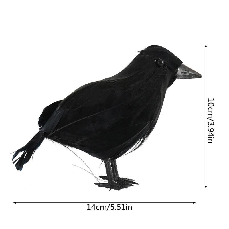 Black Lifesize Raven Movie Prop Fake Crow Halloween Fake Bird Hunting Decor EN 6