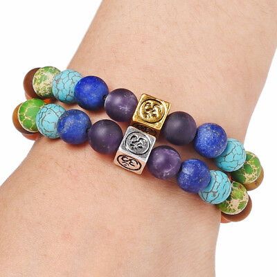 7 Chakra Yoga Natural Stone Beaded Cubic Tree Of Life&3D Charm Braided Bracelet 4